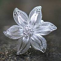 Sterling silver brooch pin, 'Tiger Lily'