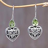 Peridot dangle earrings, 'Heart's Desire' - Fair Trade Peridot Heart Shaped Earrings from Indonesia