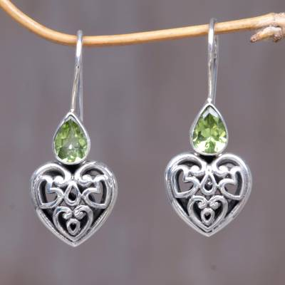 Peridot Dangle Earrings Heart S Desire Sterling Silver Shaped