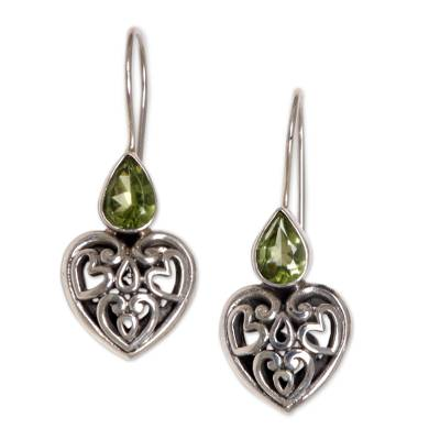 Peridot dangle earrings, 'Heart's Desire' - Peridot Sterling Silver Heart Shaped Earrings