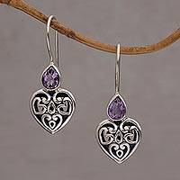 Sterling silver dangle earrings, 'Heart's Desire' - Sterling Silver Amethyst Heart Earrings