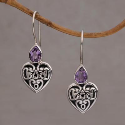 Sterling silver dangle earrings, 'Heart's Desire' - Sterling Silver Amethyst Heart Earrings