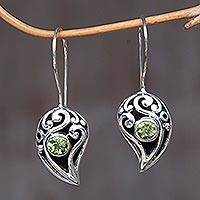 Peridot drop earrings, 'Dancing Dewdrops' - Sterling Silver Peridot Drop Earrings