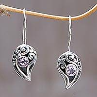 Amethyst drop earrings, 'Dancing Dewdrops' - Amethyst drop earrings