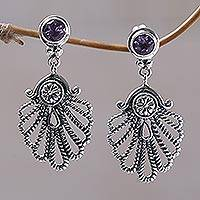 Amethyst dangle earrings, 'Balinese Fan' - Amethyst dangle earrings