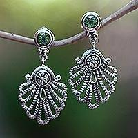 Peridot dangle earrings, 'Balinese Fan' - Peridot dangle earrings