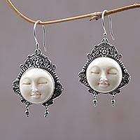 Cow bone dangle earrings, 'Moon Princess' - Carved Bone Dangle Earrings