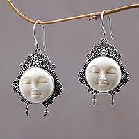 Cow bone dangle earrings, 'Moon Princess' - Carved Bone Dangle Earrings