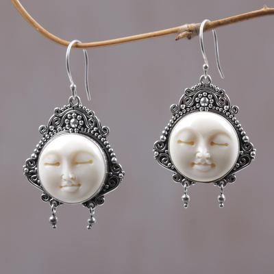 Unicef Market Carved Bone Dangle Earrings Moon Princess