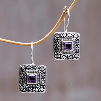 Amethyst drop earrings, 'Adoration' - Amethyst drop earrings