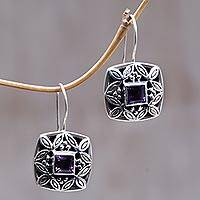 Amethyst drop earrings, 'Cassava Leaves' - Artisan Crafted Sterling Silver and Amethyst Earrings