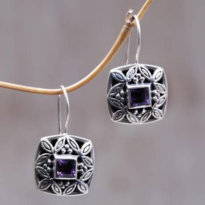 Amethyst drop earrings, 'Cassava Leaves' - Sterling Silver Amethyst Drop Earrings