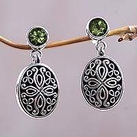 Peridot flower earrings, 'Sweet Rhapsody' - Peridot flower earrings