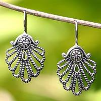 Sterling silver drop earrings, 'Silver Fan' - Sterling silver drop earrings