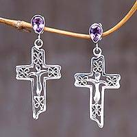 Amethyst cross earrings, 'Floral Cross' - Sterling Silver Amethyst Religious Earrings