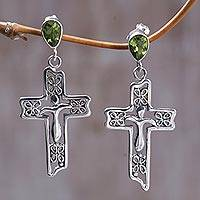 Peridot dangle earrings, 'Floral Cross' - Sterling Silver Peridot Religious Dangle Earrings