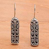 Silver drop earrings, 'Jasmine Scrolls' - Floral Sterling Silver Drop Earrings