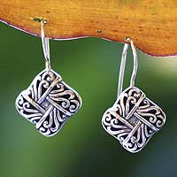 Sterling silver drop earrings, 'New Bali'