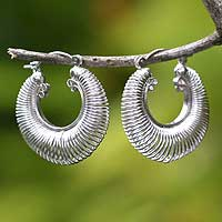 Sterling silver hoop earrings, 'Dynamic'