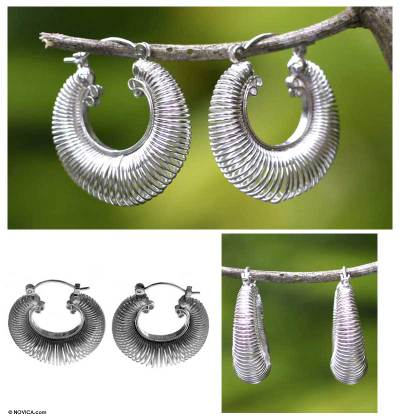 Sterling silver hoop earrings, 'Dynamic' - Sterling silver hoop earrings