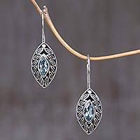 Blue topaz drop earrings, 'New Life' - Marquise Blue Topaz Drop Earrings from Bali