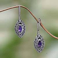 Amethyst drop earrings, 'New Life' - Indonesian Sterling Silver Amethyst Drop Earrings