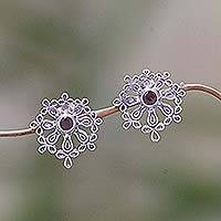 Garnet earrings, 'Floral Aura' - Floral Sterling Silver Garnet Button Earrings