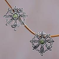 Peridot flower earrings, 'Floral Aura' - Peridot flower earrings