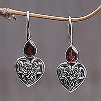 Garnet earrings, 'Heart's Desire' - Handcrafted Sterling Silver and Garnet Womens Heart Earrings
