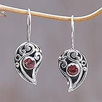 Garnet drop earrings, 'Dancing Dewdrops' - Sterling Silver Garnet Drop Earrings