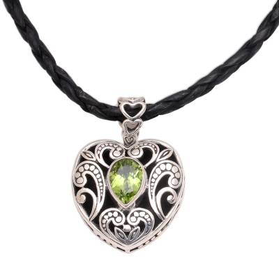 Peridot necklace, 'Summer Love' - Indonesian Heart Shaped Sterling Silver and Peridot Necklace