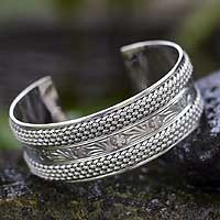 Sterling silver cuff bracelet, 'Paradise' - Sterling silver cuff bracelet