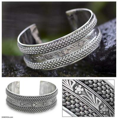 Sterling silver cuff bracelet, 'Paradise' - Sterling silver cuff bracelet