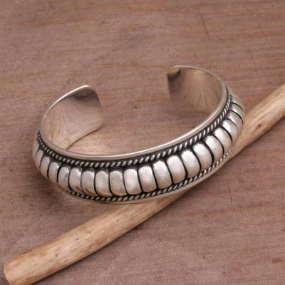 Sterling silver cuff bracelet, 'Dragon Song' - Handmade Sterling Silver Cuff Bracelet