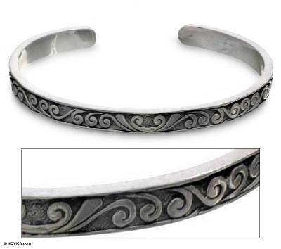 Bracelet, 'Silver Surf' - Sterling Silver Cuff Bracelet from Indonesia