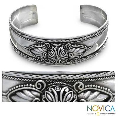 Sterling silver cuff bracelet, 'Silver Lotus' - Floral Sterling Silver Cuff Bracelet