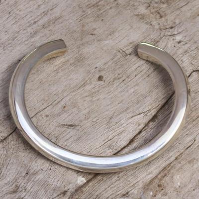 Sterling silver cuff bracelet, 'Modern Horseshoe' - Modern Sterling Silver Cuff Bracelet