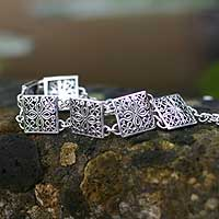 Sterling silver link bracelet, 'Magical Windows' - Sterling silver link bracelet