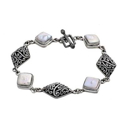 Unique Sterling Silver and White Square Freshwater Pearl Link Bracelet