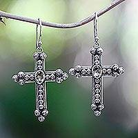 Citrine cross earrings, 'Sunshine Cross' - Citrine cross earrings