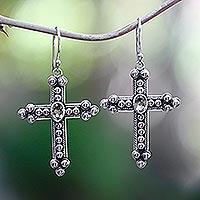 Citrine cross earrings,