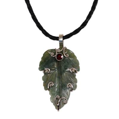 Agate and garnet pendant necklace, 'Lush Leaf' - Unique Agate and Leather Pendant Necklace