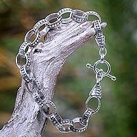 Men's sterling silver bracelet, 'Hand in Hand' - Men's Sterling Silver Link Bracelet
