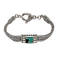 Sterling silver pendant bracelet, 'Java Style' - Sterling silver pendant bracelet
