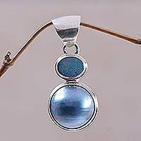 Cultured pearl and opal pendant, 'Blue Ocean Dream' - Modern Sterling Silver and Pearl Pendant