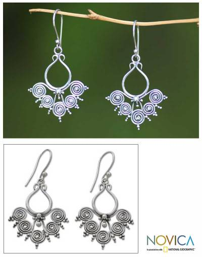 Sterling silver dangle earrings, 'Goddess Swirls' - Sterling Silver Dangle Earrings