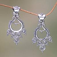 Sterling silver dangle earrings, 'Goddess Coils' - Indonesian Sterling Silver Dangle Earrings
