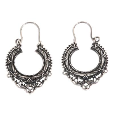 Sterling silver hoop earrings, 'Complexity' - Sterling Silver Hoop Earrings