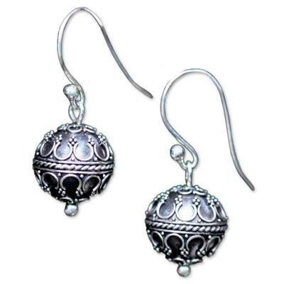 Sterling silver dangle earrings, 'Exotic Globe' - Indonesian Sterling Silver Dangle Earrings