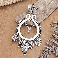 Sterling silver pendant, 'Rice Goddess'